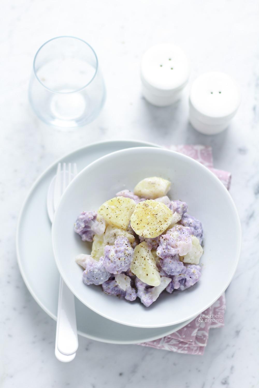 Insalata di patate e cavolfiore viola con salsa allo yogurt