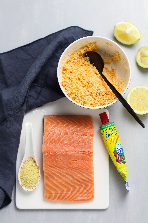 Salmone in crosta di cous cous  ingredienti