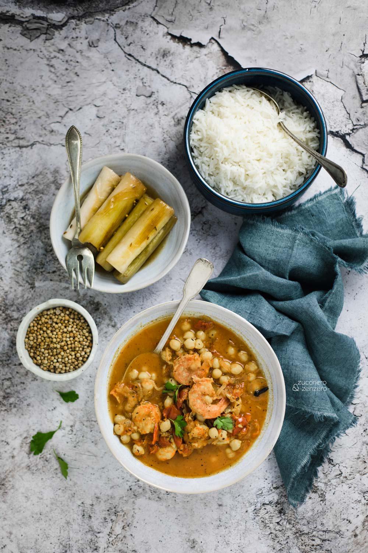 Curry indiano di gamberoni e ceci