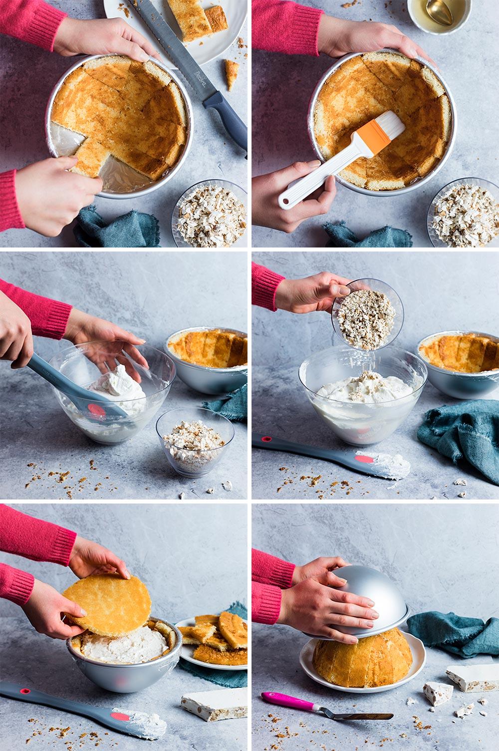 Zuccotto al torrone - step by step