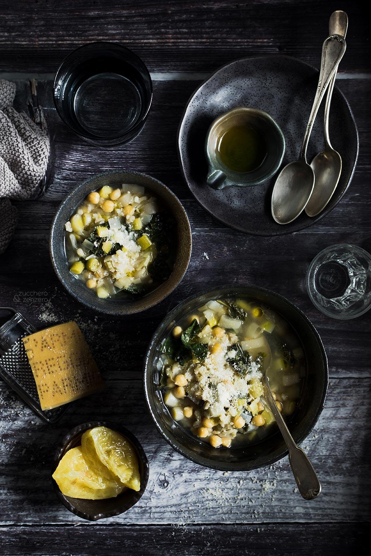 Zuppa di porri e ceci al limone