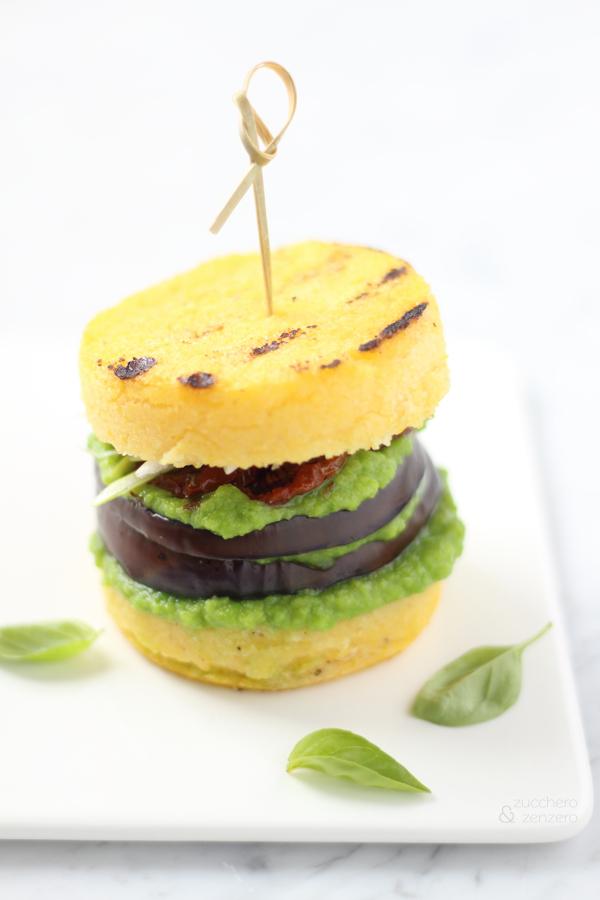 Hamburger di melanzane e polenta